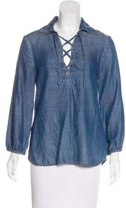 Frame Chambray Long Sleeve Top