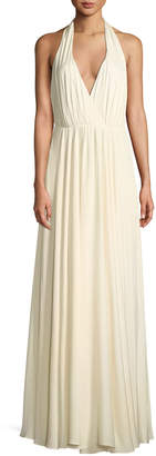 Milly Georgina Silk Stretch Halter-Strap Gown