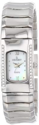 Peugeot Women's 7054 Silver-Tone Rectangle Swarovski Crystal Accent Bracelet Watch