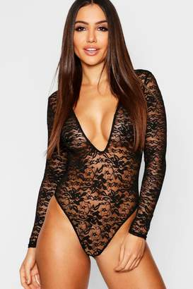 boohoo Lace Plunge Long Sleeve Bodysuit