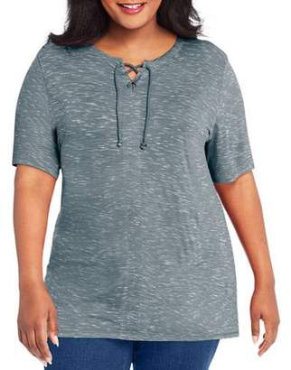 Just My Size Women's Plus Lace-Up Tunic