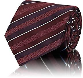 Brioni Men's Striped Silk Necktie - Red