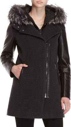 Intuition Real Fur Trim Leather Sleeve Coat