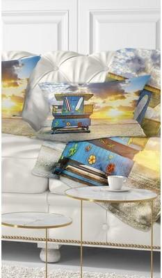 South Beach East Urban Home Seashore Miami Sunrise Lumbar Pillow East Urban Home