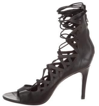 Joie Leather Lace-Up Sandals Black Leather Lace-Up Sandals