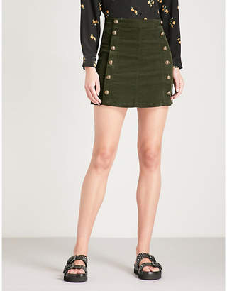 The Kooples Button-down stretch-cotton velvet corduroy mini skirt