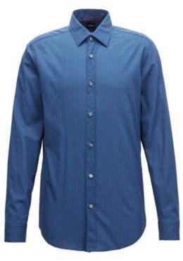 BOSS Hugo Regular-fit shirt in micro-printed cotton muslin M Open Blue