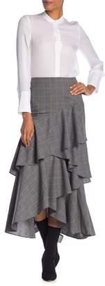Alice + Olivia Martina Plaid Ruffled Asymmetrical Midi Skirt
