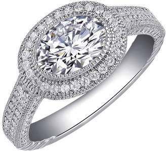Lafonn Classic Sterling Silver Platinum Plated Lassire Simulated Diamond Ring (2.55 CTTW)