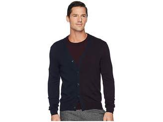 Perry Ellis Cotton Modal Two-Tone Color Block Cardigan Men's Sweater