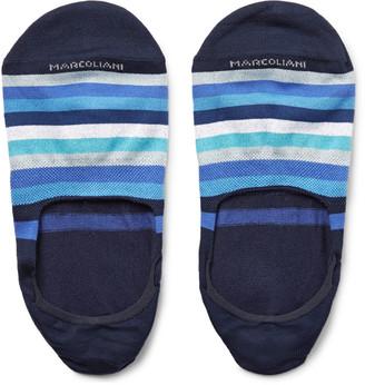 Marcoliani Invisible Touch Striped Pima Cotton-Blend No-Show Socks $21 thestylecure.com