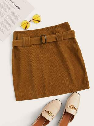 Shein Buckle Belted Cord Skirt