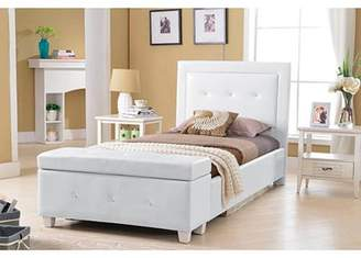 Best Master Furniture Upholstered Platform Bed, White Faux Leather Twin