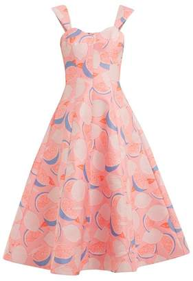 Vika Gazinskaya Lemon-print cotton-blend dress