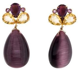 Bounkit Amethyst, Citrine & Glass Clip-On Earrings