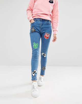 Mini Cream Denim Skinny Jeans With Badge Details