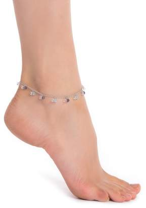 Candela Sterling Silver Semi-Precious Stone Cluster Anklet
