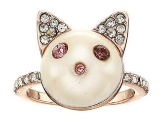 Betsey Johnson Pearl Cat Ring