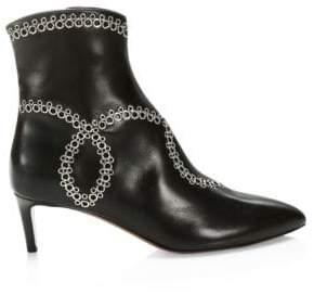 Gucci Azzedine Alaia Leather Grommet Design Kitten Heel Booties