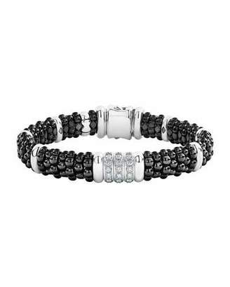 Lagos Black Caviar Diamond 3-Link Bracelet, 9mm