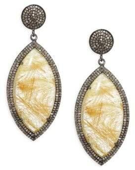 Nina Gilin Diamond& Rhodolite Quartz Drop Earrings