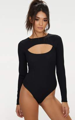 PrettyLittleThing Black Longsleeve Rib Open Front Thong Bodysuit