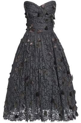 Dolce & Gabbana Strapless Velvet-Appliquéd Cotton-Blend Corded Lace Dress