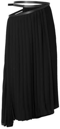 Jil Sander Asymmetric Leather-trimmed Pleated Crepe Wrap Skirt - Black