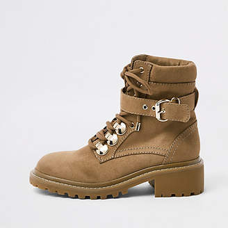 River Island Beige faux suede lace-up boots