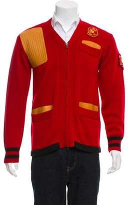 Billionaire Boys Club Leather-Trimmed Zip-Up Cardigan