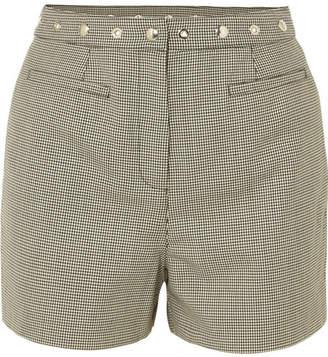 ALEXACHUNG Embellished Houndstooth Wool-blend Shorts - Black
