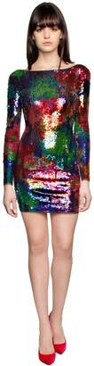Amen Sequined Mesh Mini Dress