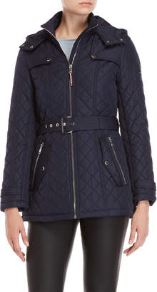 Tommy Hilfiger Belted Quilted Hooded Coat