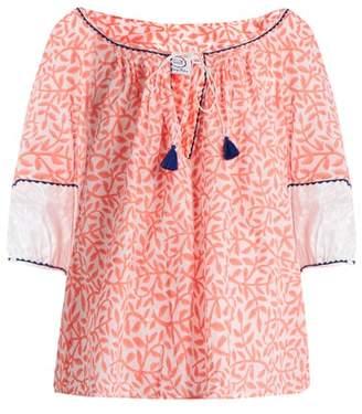 Thierry Colson - Evita Leaf Print Cotton Top - Womens - Orange Multi