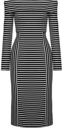 Derek Lam 10 Crosby Off-The-Shoulder Striped Ponte Midi Dress