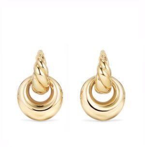 David Yurman Pure Form Drop Earrings in 18K Gold $1,950 thestylecure.com