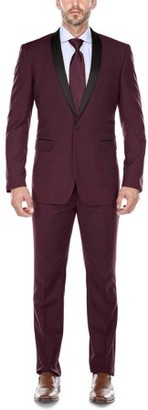 Verno Men's Burgundy Shawl Collar Tuxedo Slim Fit Suit