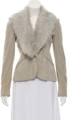 Ralph Lauren Black Label Shearling Trim Suede Jacket
