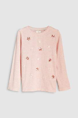 Next Girls Light Pink Embroidered Flower Tee (3-16yrs)