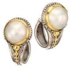 Konstantino Pearl Classics Pearl, Sterling Silver & 18K Yellow Gold Hoop Earrings
