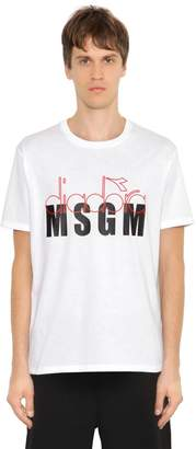 MSGM Diadora Co-Lab Printed Jersey T-Shirt