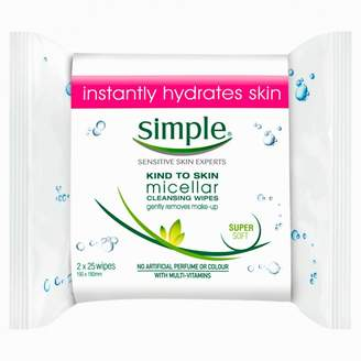 Simple Micellar Cleansing Wipes Twin Pack 50 wipes