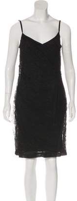 Nina Ricci Ruched Lace Dress Black Ruched Lace Dress