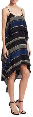 Halston Printed Layered Flounce Dress