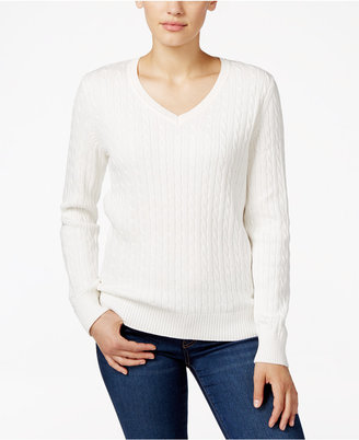 Karen Scott V-Neck Cable-Knit Sweater, Only at Macy's $46.50 thestylecure.com