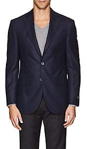 Jack Victor MEN'S PLAID WOOL TWO-BUTTON SPORTCOAT-NAVY SIZE 44 L