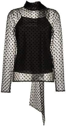 Erdem Yvonna sheer polka dot silk blouse