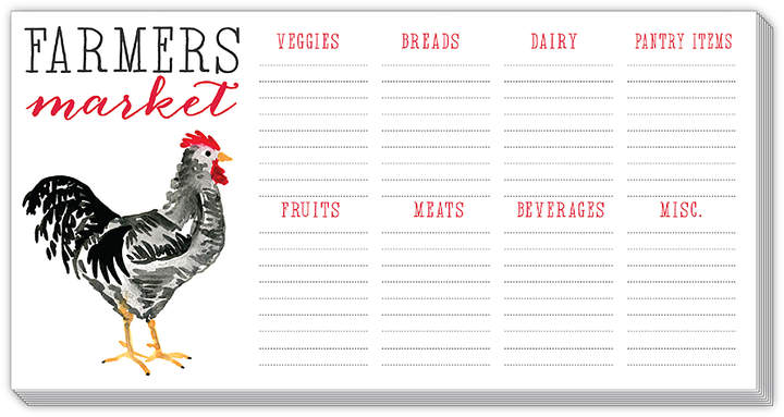 Rooster 'Farmers Market' Horizontal List Notepad