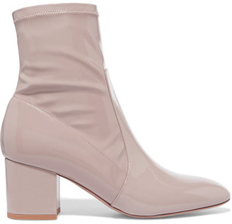 Valentino - Faux Patent-leather Ankle Boots - Antique rose $945 thestylecure.com
