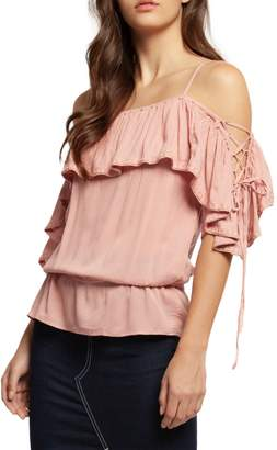 Dex Ruffle Lace-Up Top